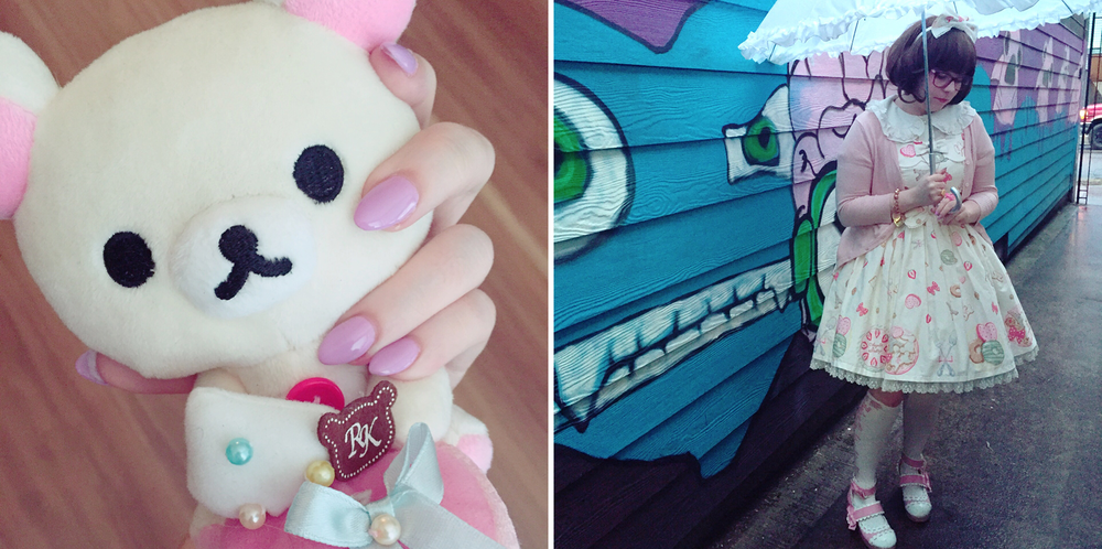 [left: new nails; right: random lolita coordinate]