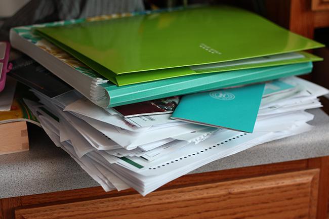 Disorganized paper pile