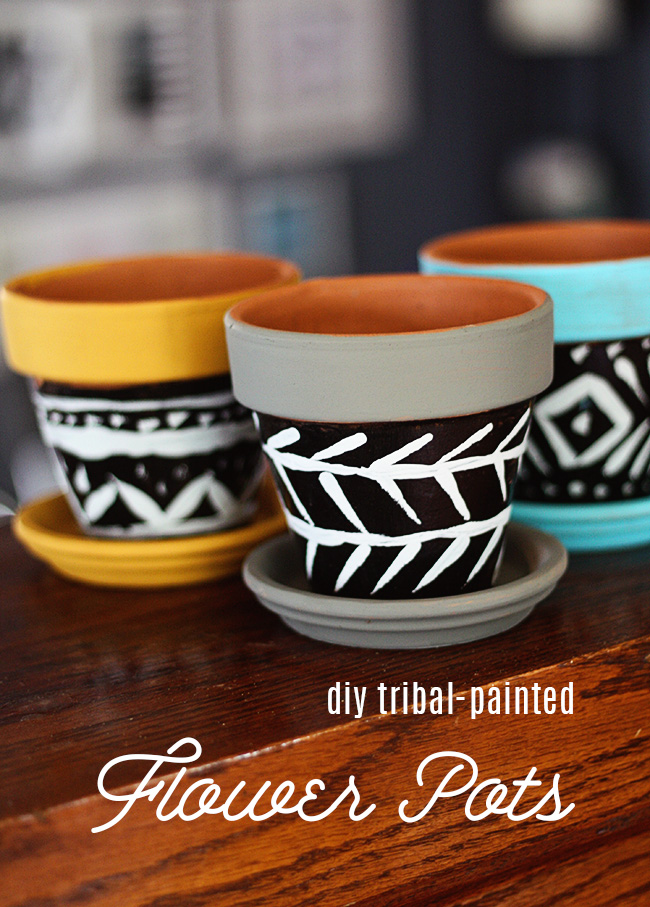 Diy tribal painted flower pots laurie cosgrove design do it yourself projects for me have to be simple like quick and easy enough to prep and paint in 20 minutes before my three babes need my assistance or solutioingenieria Gallery