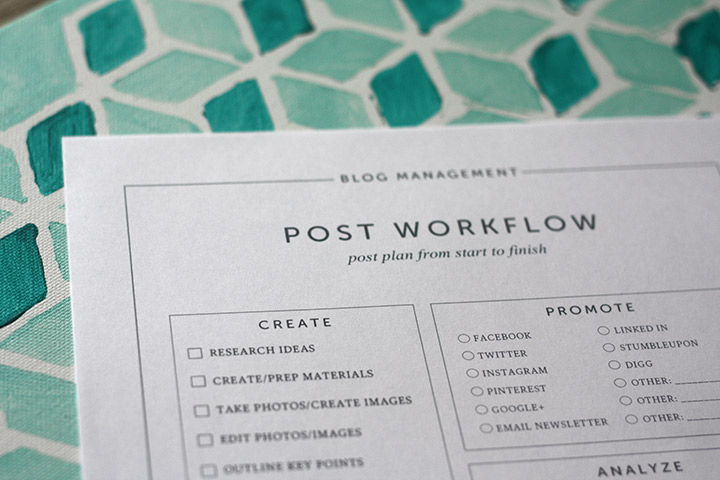 Blog post workflow worksheet