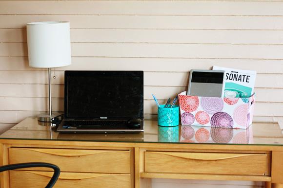 De-cluttered desk
