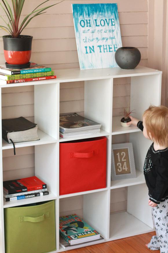 De-cluttered bookshelf