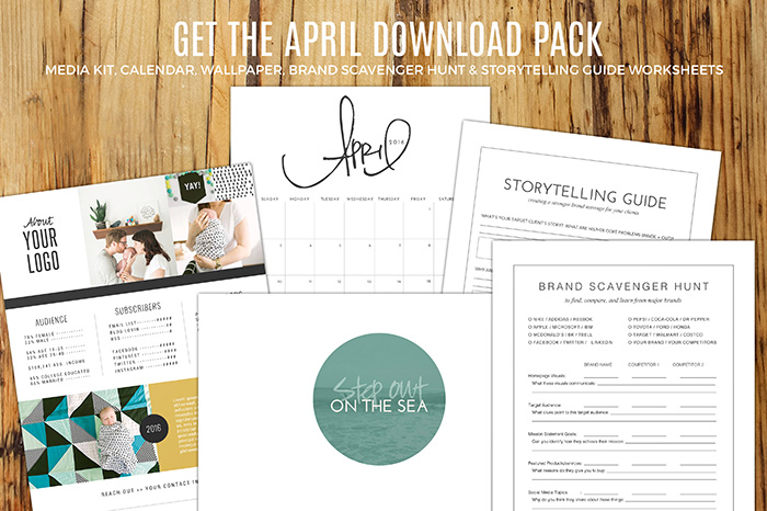 April Download Pack | Media Kit, Calendar, Wallpaper, Brand Scavenger Hunt, & Storytelling Guide