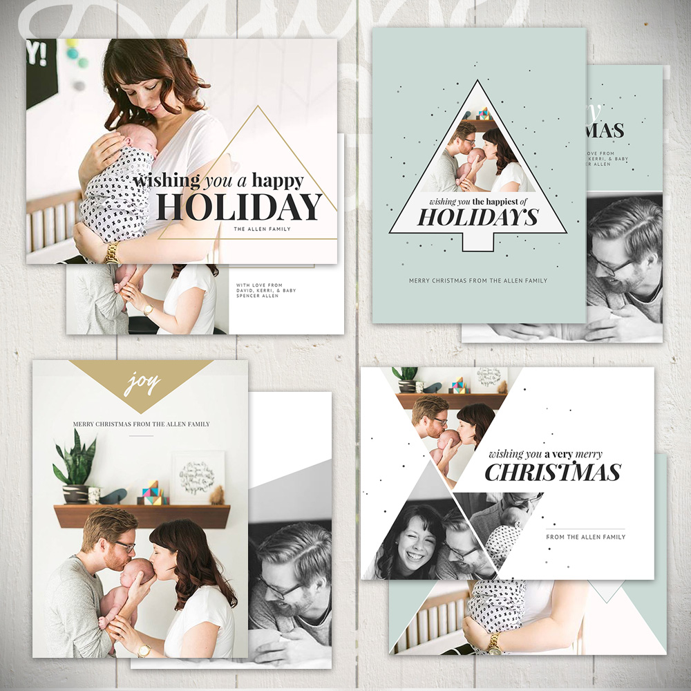 Christmas Card Template Set by Laurie Cosgrove Design - Tinsel & Lights