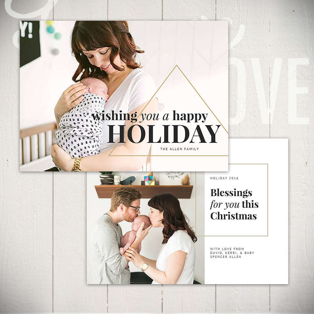 Christmas Card Template Set by Laurie Cosgrove Design - Tinsel + Lights A