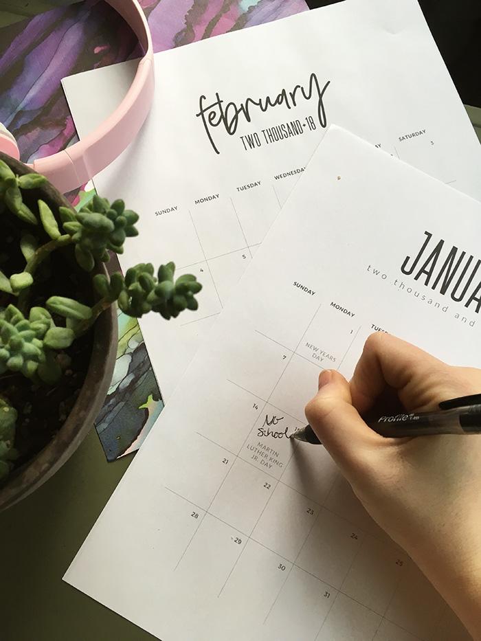 2018 Calendar Printable (Handling Busy Seasons)