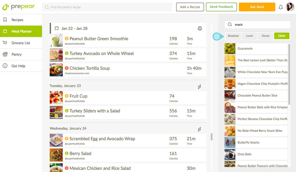 Meal Planning With Prepear - the weekly planner