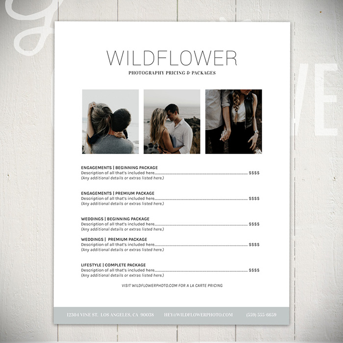 Photography Price List - The Wildflower Collection