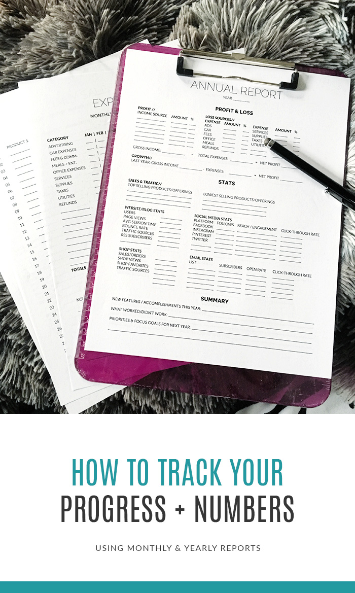 How To Track Your Progress & Numbers Using Monthly + Yearly Reports