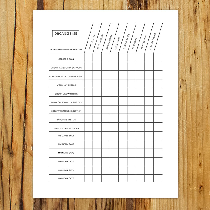 Organize Me Chart