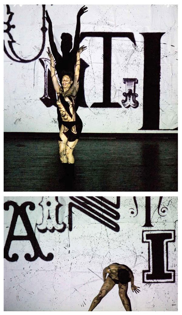 Marie Yan Morvan: Video installation featuring type design and moving image.