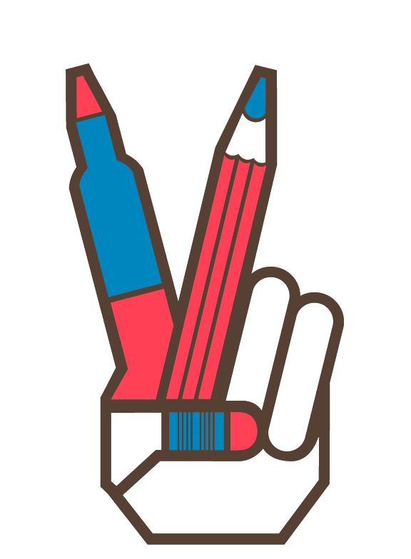 "Dan Cassaro: Symbol designed for the 2008 SVA Yearbook suggesting ""art school"" and ""peace"" or graduation, i.e. ""peace out."""
