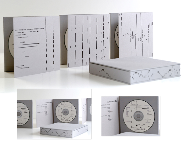 Erica Chung: CD box design for Steve Reich with hand cut rhythm pattern.