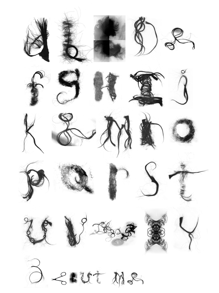 Ha Do and Ava Savitsky: Collaborative effort, font made out of hair.