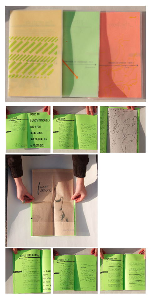 Sarah Macreading: Set of three zines on the topic of language, translation, and interpretation.