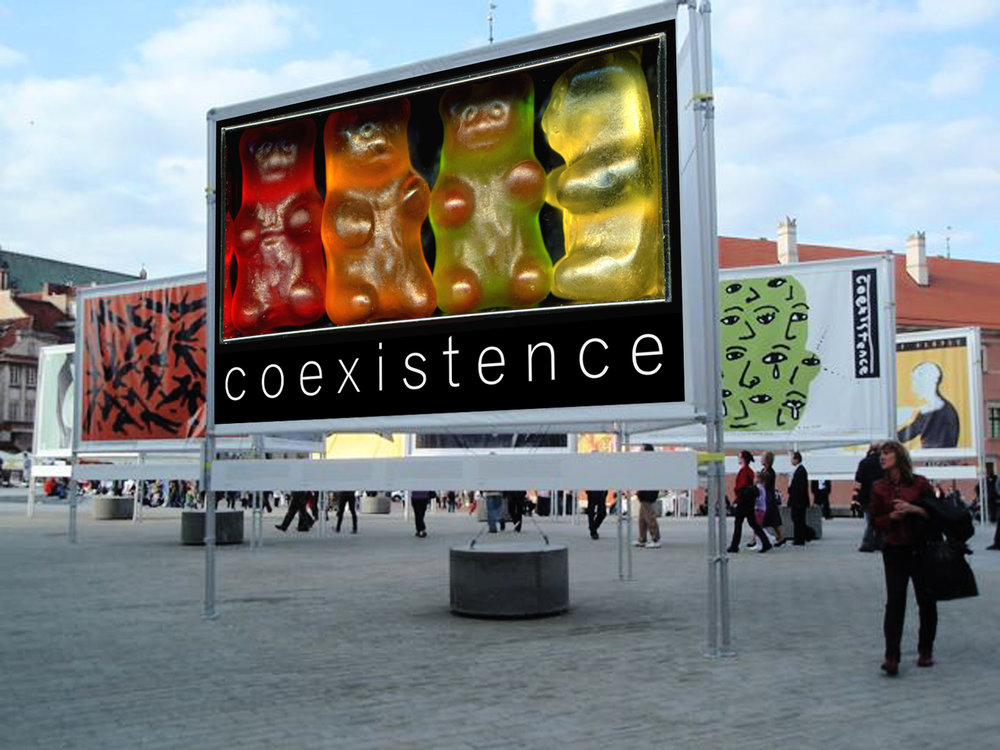 "COEXISTENCE BILLBOARD FOR MUSEUM ON THE SEAM, ISRAEL  Billboard 9' x 5' for the ""Coexistence Project"" at the Museum on the Seam in Israel. Creative direction, art direction, construction, photography, and design by E. Genevieve Williams."