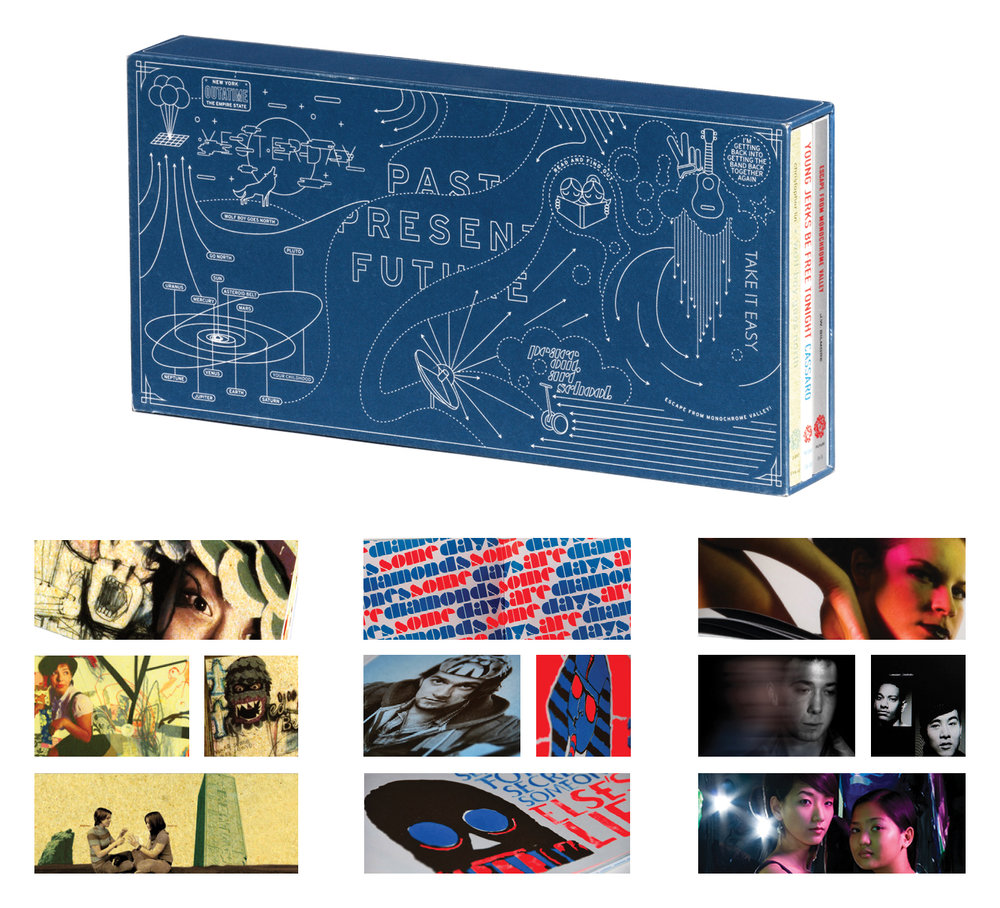 The 2008  SVA Yearbook, creative direction by E. Genevieve Williams and art direction by  Christopher Lin ,  Dan Cassaro , and John Gilmore. Each art director designed one of three books on the themes of past, present, future. The book won much critical acclaim and set Chris and Dan on lasting career paths.