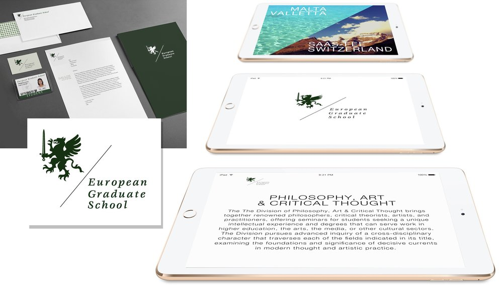 EUROPEAN GRADUATE SCHOOL BRANDING  Creative direction and art direction by E. Genevieve Williams. Design by former student Jane Youn.   Click this link to view the brand identity style guide.