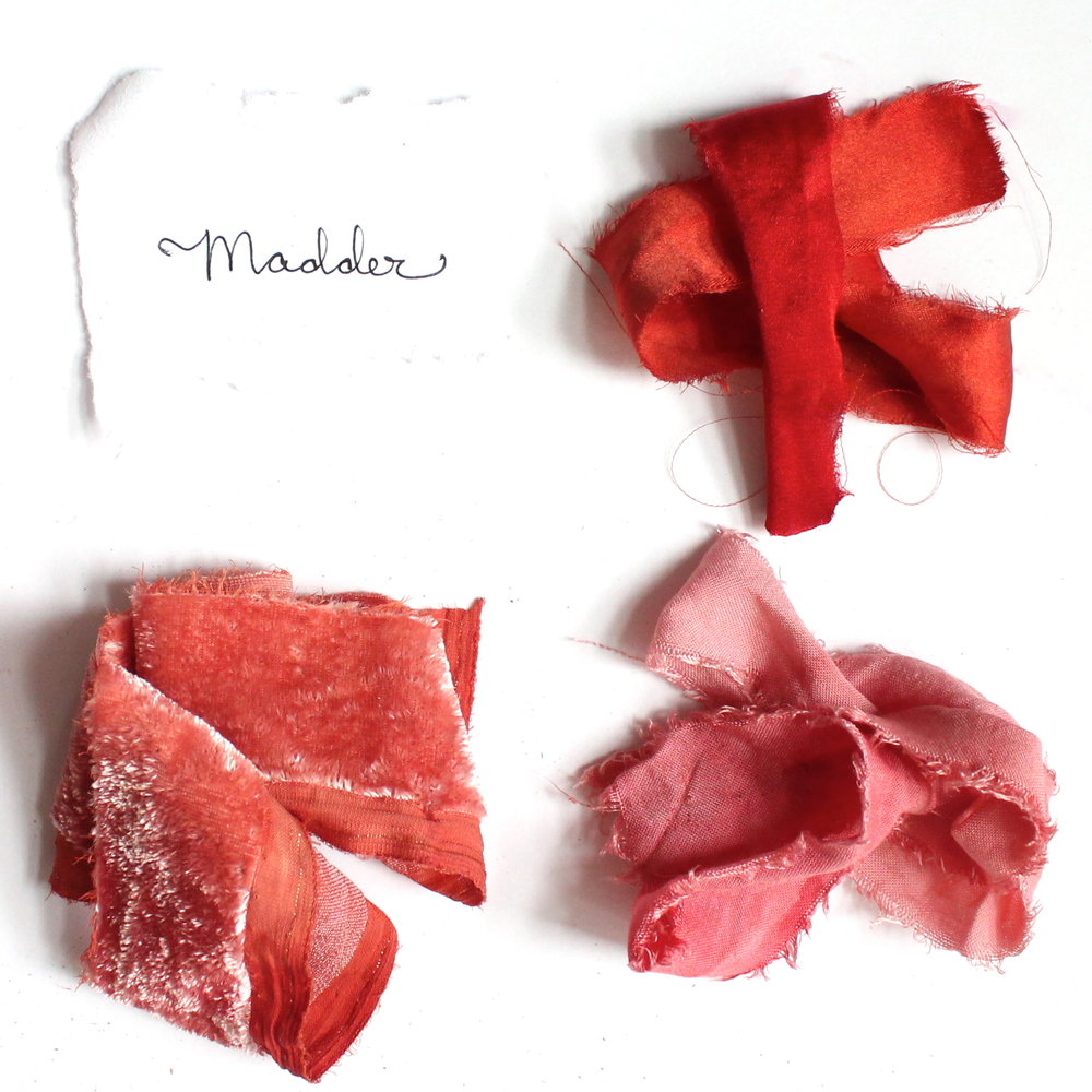 Madder .  Madder is a root that grows easily in many conditions. It can yield pinks to a deep, earthy red color.
