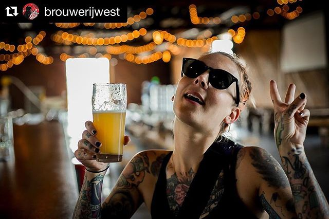 Something about a centrifuge and a hop gun that will get ya into hazy ipa's.... #Repost @brouwerijwest with @get_repost ・・・ The infamous @mel_cakes, creator of @brewbiesfest and badass of @vanswarpedtour stopped by to say what's up today! We immediately convinced her to try her first Hazy IPA.  Thanks homie! 💛🖤💛🖤