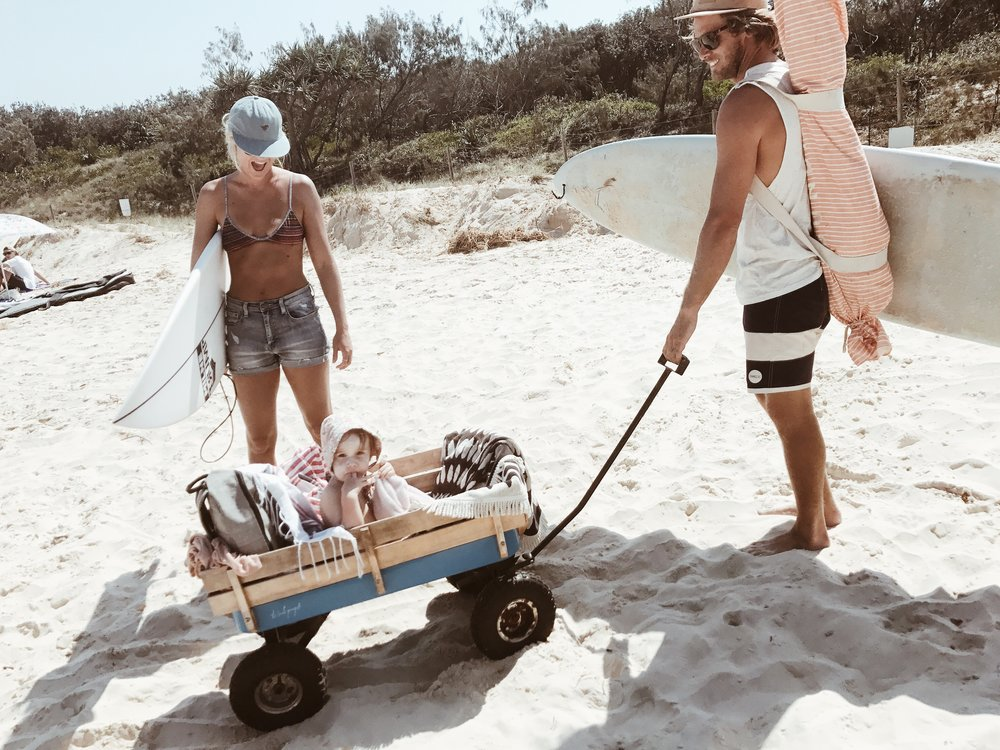 My Family! My husband Daniel, baby girl Marlee and me. We all love the beach, camping, exploring and surfing. (Well, I'm sure Marlee will love surfing!)