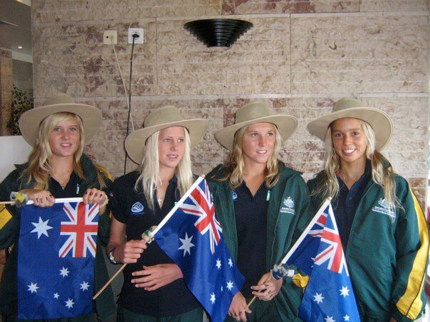 Myself, Laura, Ashley & Sally representing Australia in the World Surfing Titles in Portugal