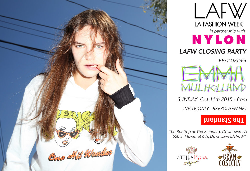 LAFW SS16  Closing Party - Produced by me for LAFW in partnership w/ NYLON; Invite postcard designed by me