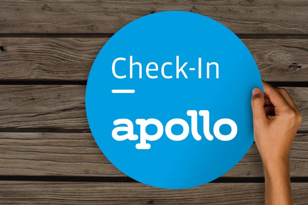New Identity for Apollo. Check-In Sign.