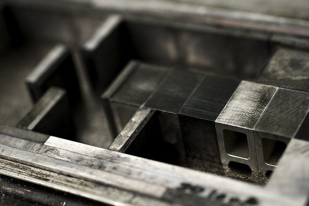 Space Between. Metal Type Close Up.