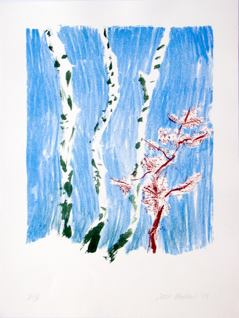 Three Birches, lithograph