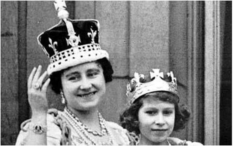 Queen Elizabeth the Queen Mother wearing the Koh-I-Noor in her crown at her Coronation in 1937.