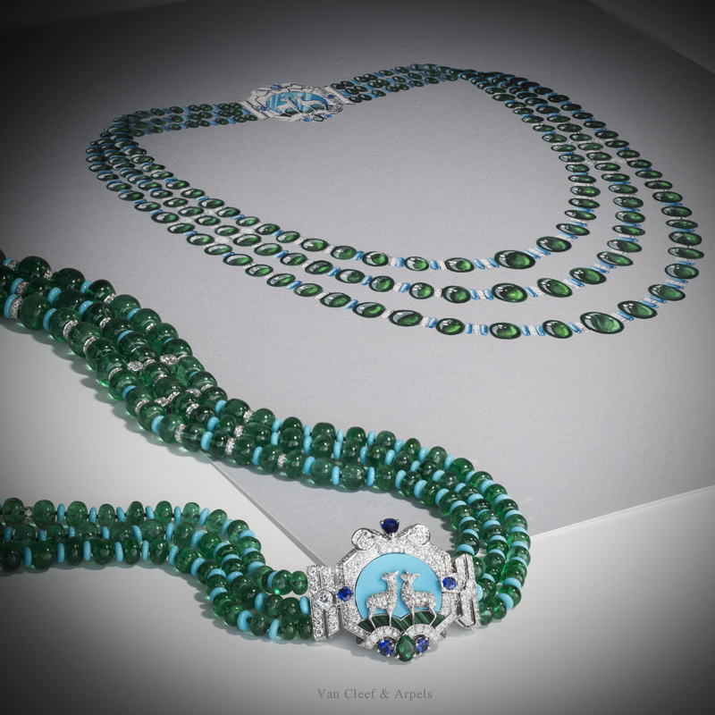An important emerald, turquoise, sapphire and diamond necklace by Van Cleef and Arpels pictured next to its working gouache.