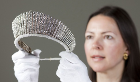 The Russian Kokoshnik Tiara being prepared to go on display during the Queen's Diamond Jubilee in 2012.