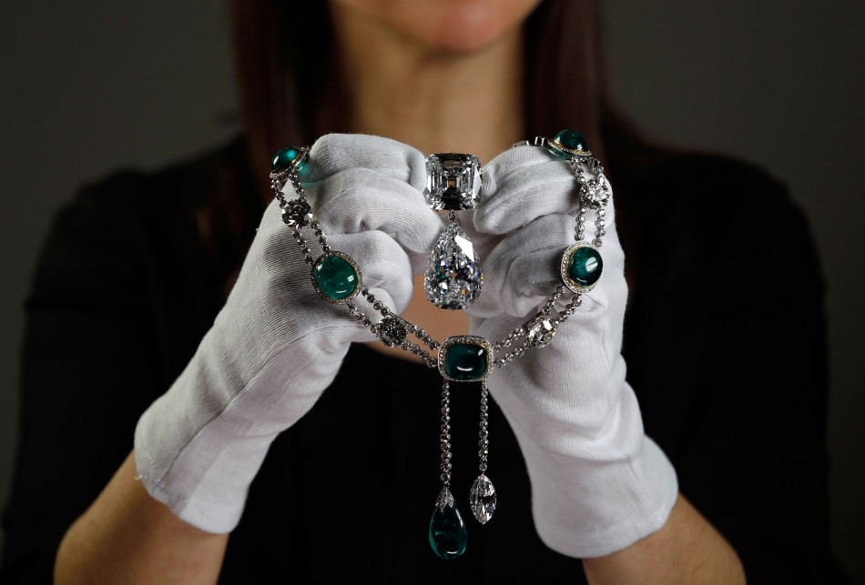 The Cullinan III and IV Brooch, the most valuable brooch in the world.  The marquise diamond suspended from the emerald and diamond necklace is also a cleaving from the Cullinan Diamond.