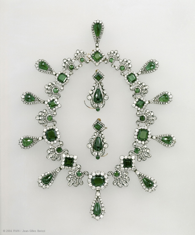 The emerald and diamond necklace and earrings Marie Louise of Austria was given by Napoleon as a wedding present in 1810.