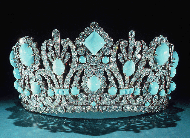 The tiara which also formed part of the wedding set.  The emeralds were removed and sold by Van Cleef and Arpels and replaced with turquoises.