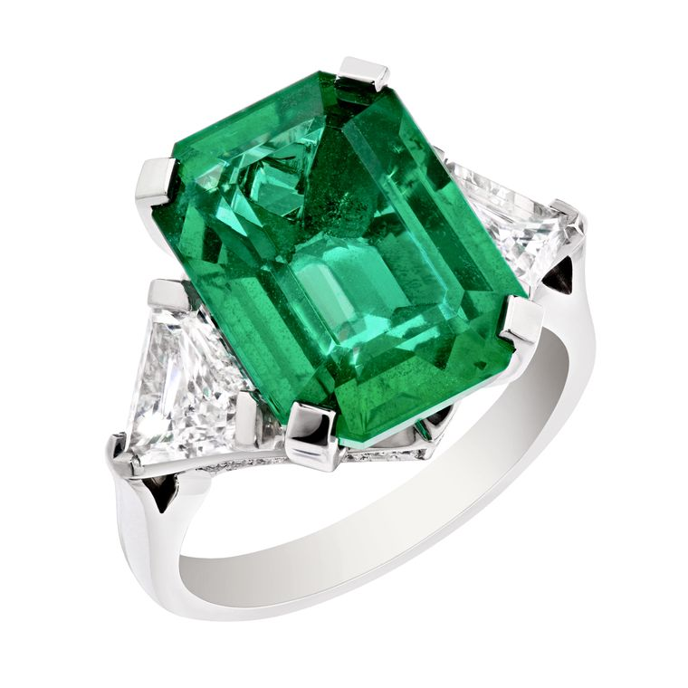 Faberge 'Devotion' ring, set with a Zambian emerald of over 7 carats.