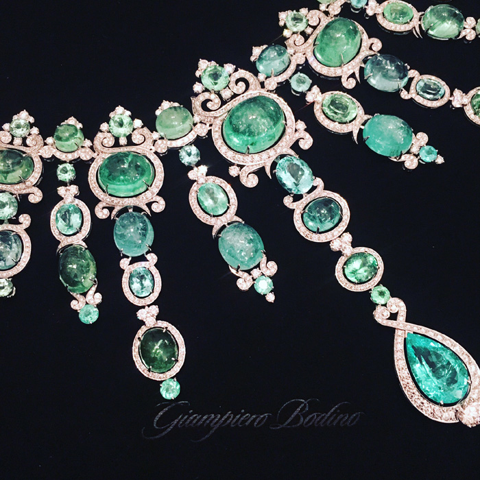 Paraiba tourmaline and diamond necklace by Giampiero Bodino.