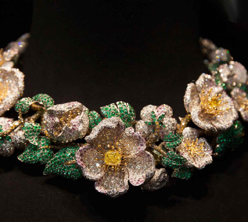 'Simonetta' necklace in multi coloured diamonds and emeralds.