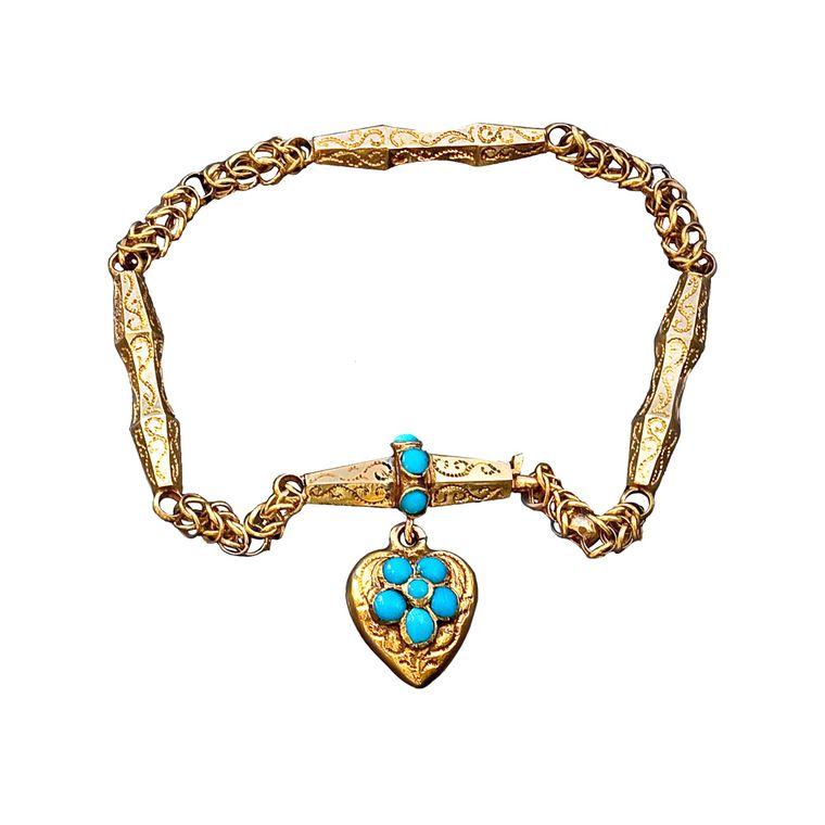 Victorian yellow gold and turquoise bracelet embellished with turquoise forget-me-nots, a popular motif of the era.