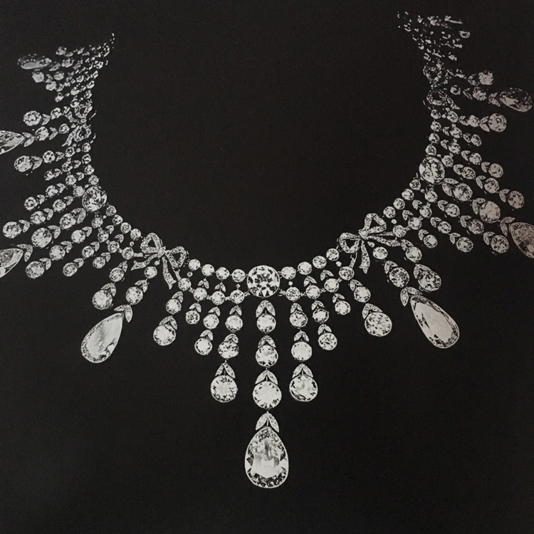Archive photograph of a diamond necklace Varvara Kelch bought from Boucheron at the turn of the 20th century.  After she died, her jewellery was never seen again.