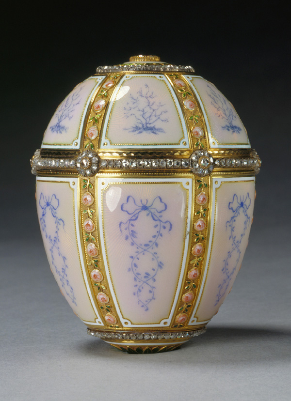 The 12 Panel Egg of 1899, commissioned from Faberge by Alexander Kelch as a gift for his wife.  This piece is now housed in the Royal Collection.