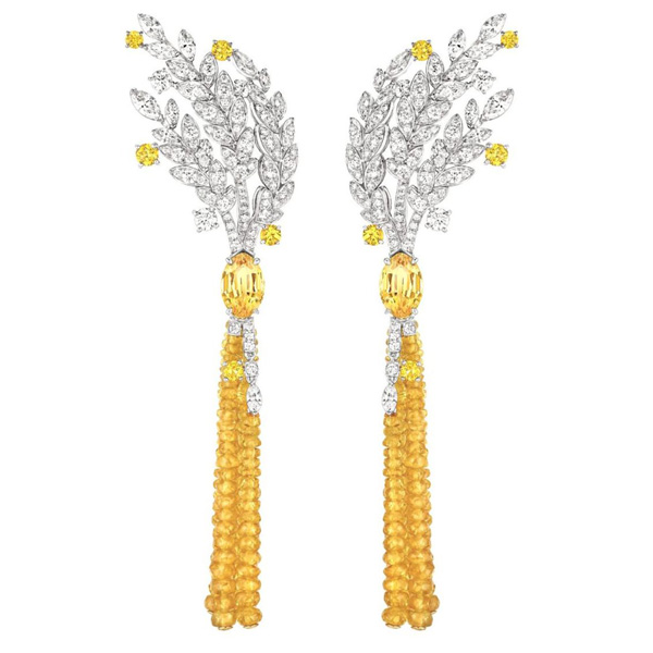 Diamond and yellow sapphire Moisson d'Or earrings by Chanel