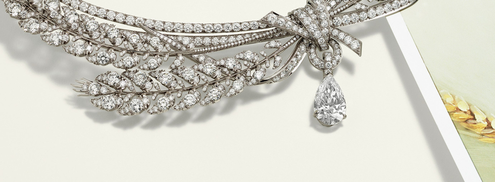 Detail of Chaumet's wheat sheaf necklace, part of their Natures de Chaumet High Jewellery collection.