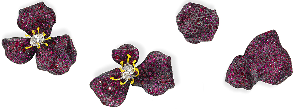 Asymmetric Beauty: Rose petal earrings in ruby and diamonds by Cindy Chao.