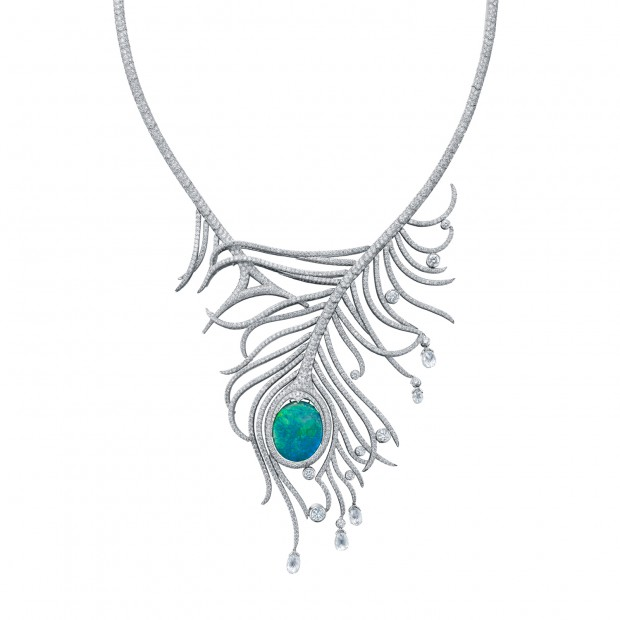 Peacock necklace by Boodles featuring an important black opal in the eye of the feather.