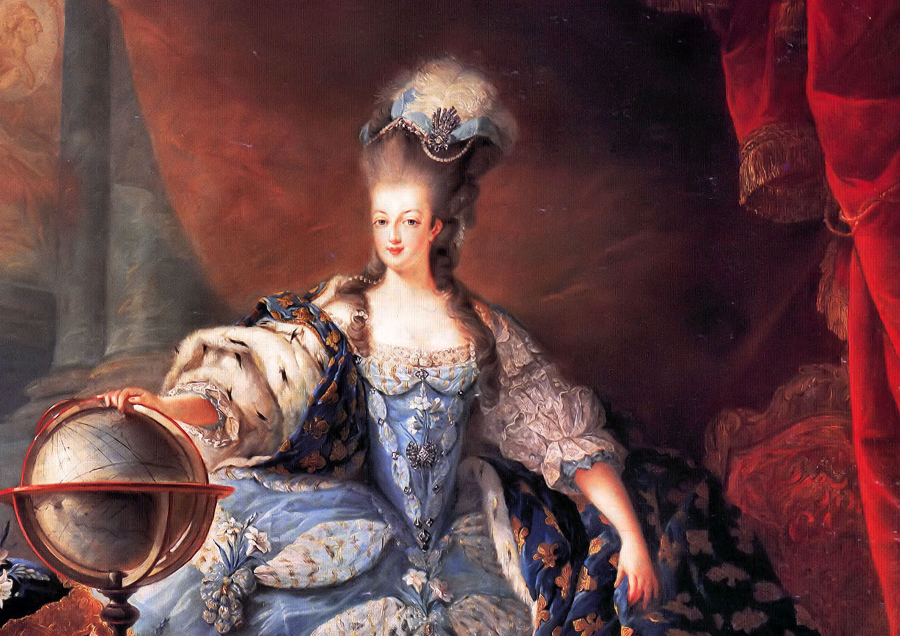 Marie Antoinette painted in all her courtly glamour.  Although her dress and hair are decorated with priceless jewels, ironically she was rarely painted wearing a necklace.