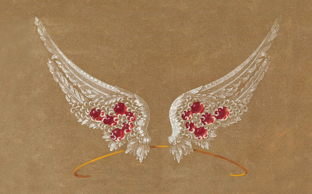 Design by Chaumet for a ruby and diamond winged aigrette.
