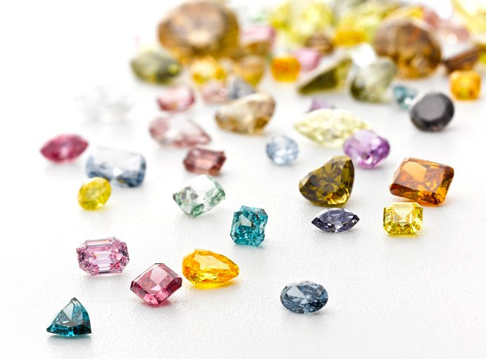 Image showing the variety of colour and cut in diamonds.
