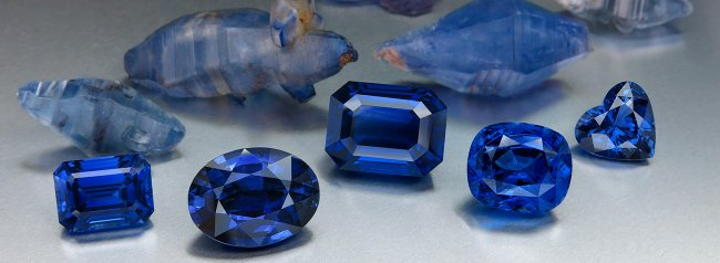 Beautiful blue sapphires: the evenness of colour will have been achieved partly by the stone cutter.